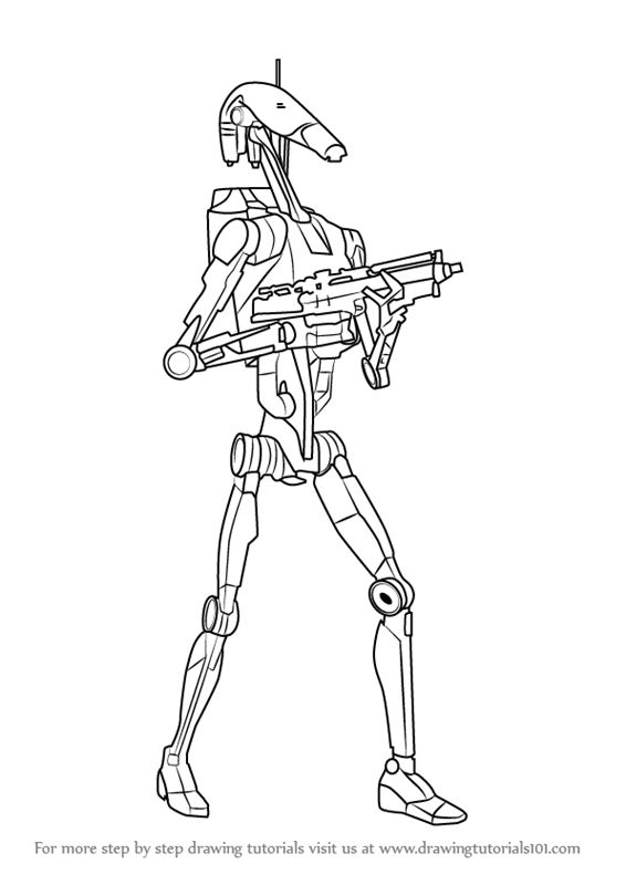 How To Draw A Battle Droid : battle, droid, Learn, Battle, Droid, (Star, Wars), Drawing, Tutorials