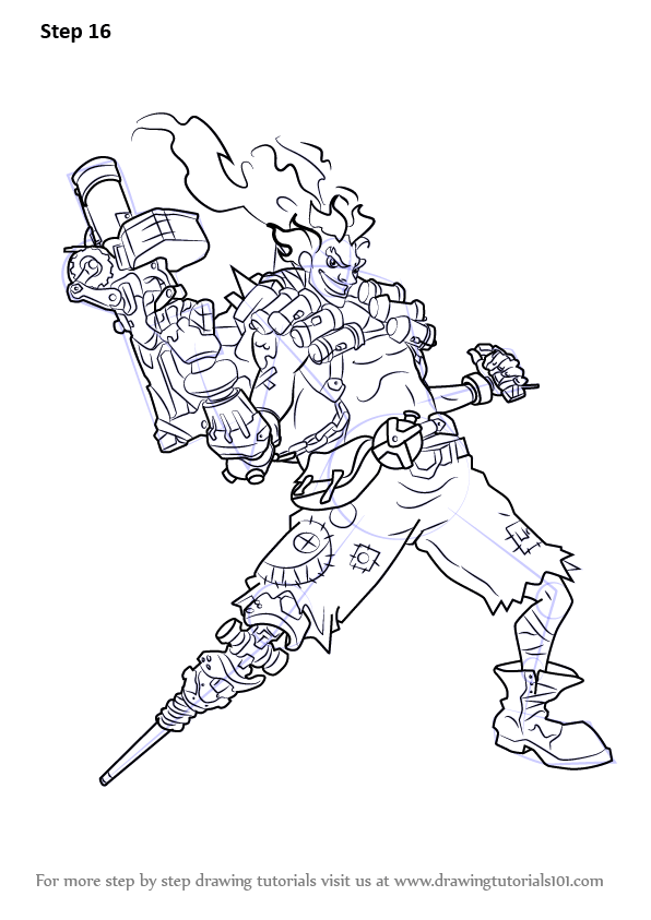Learn How to Draw Junkrat from Overwatch (Overwatch) Step