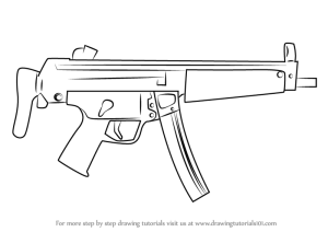 gun draw machine drawing step weapons pencil sketch drawings easy weapon mp5 drawingtutorials101 military