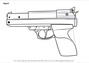 gun draw step drawing hand pistols tutorials weapons learn