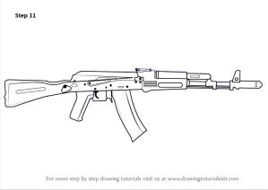 ak 47 draw drawing rifle step rifles ak47 weapons tattoo drawingtutorials101 weapon kalashnikov