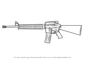 m16 rifle draw step drawing guns rifles assault weapons gun drawings hunting learn colt previous