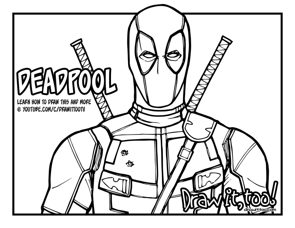 It 39 s everybody 39 s favorite merc with a mouth deadpool for Deadpool printable coloring pages