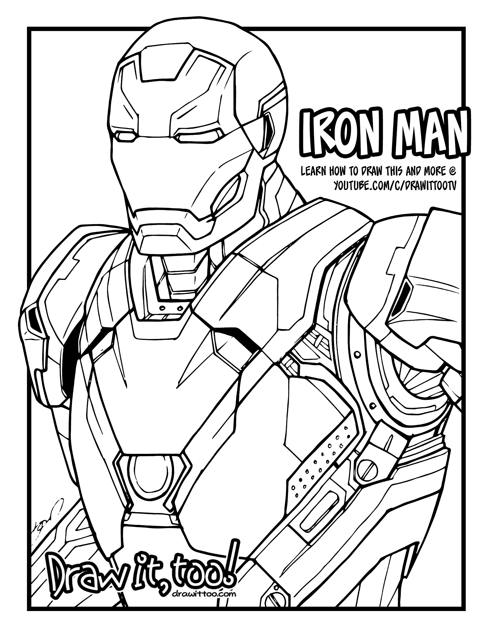 Free Coloring Pages Download : Iron Man Mark 46 Captain America Civil War  Tutorial Draw It