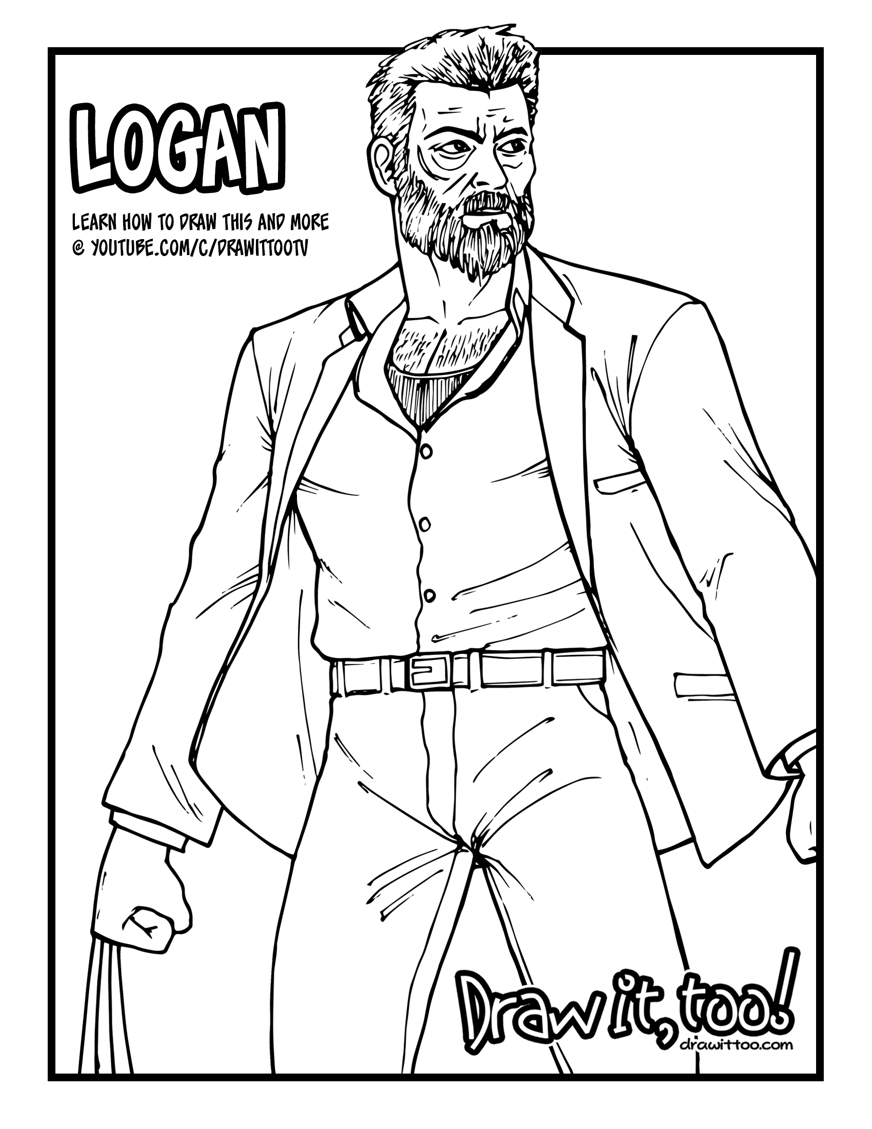 How to Draw LOGAN (Logan [2017] Movie) Narrated Easy Step