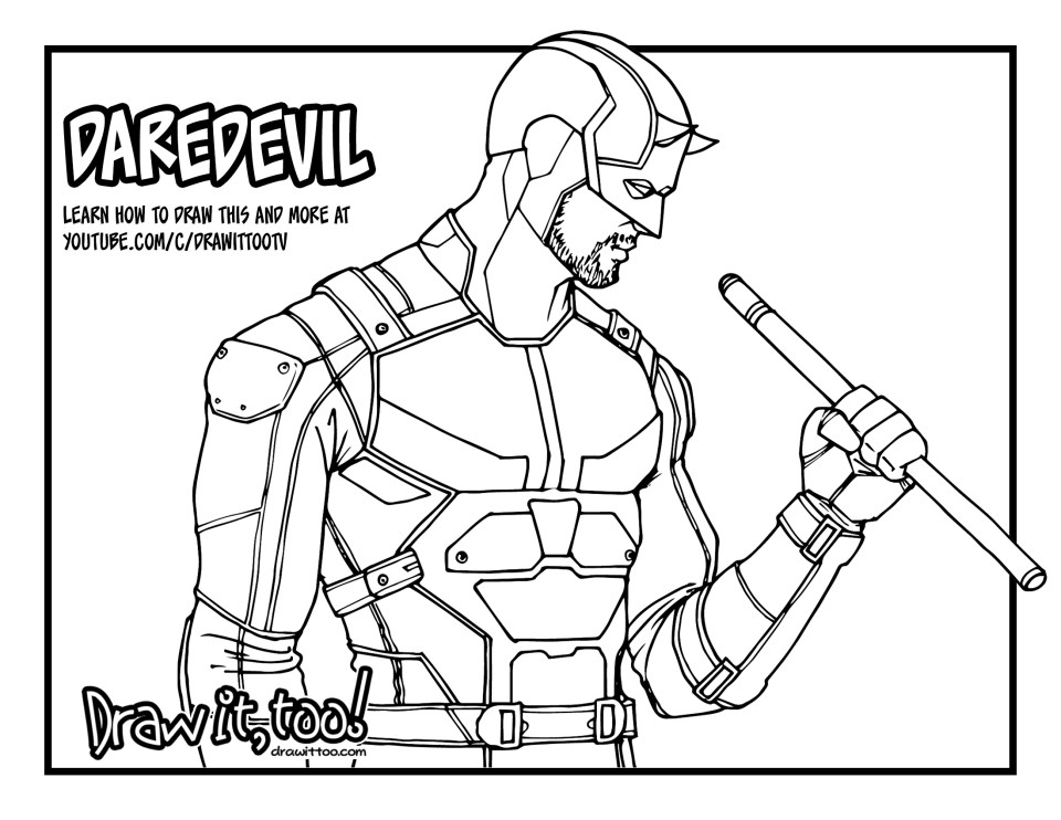 How to draw daredevil netflix daredevil season 2 drawing for Daredevil coloring pages