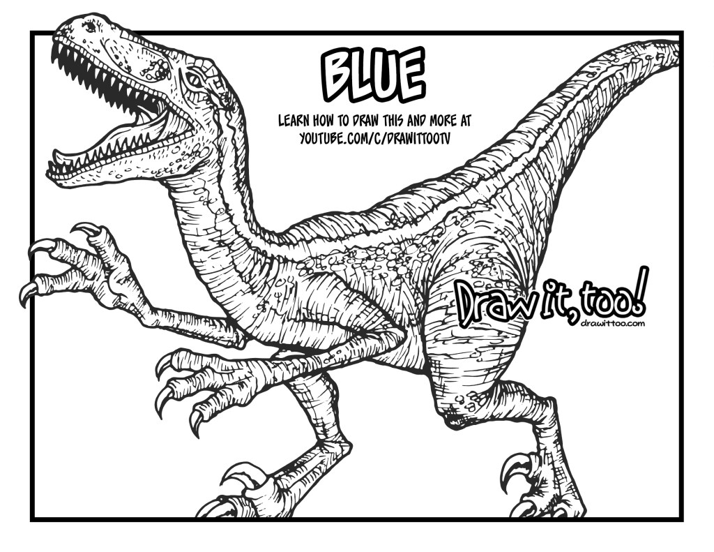 how to draw blue the velociraptor jurassic world drawing tutorial