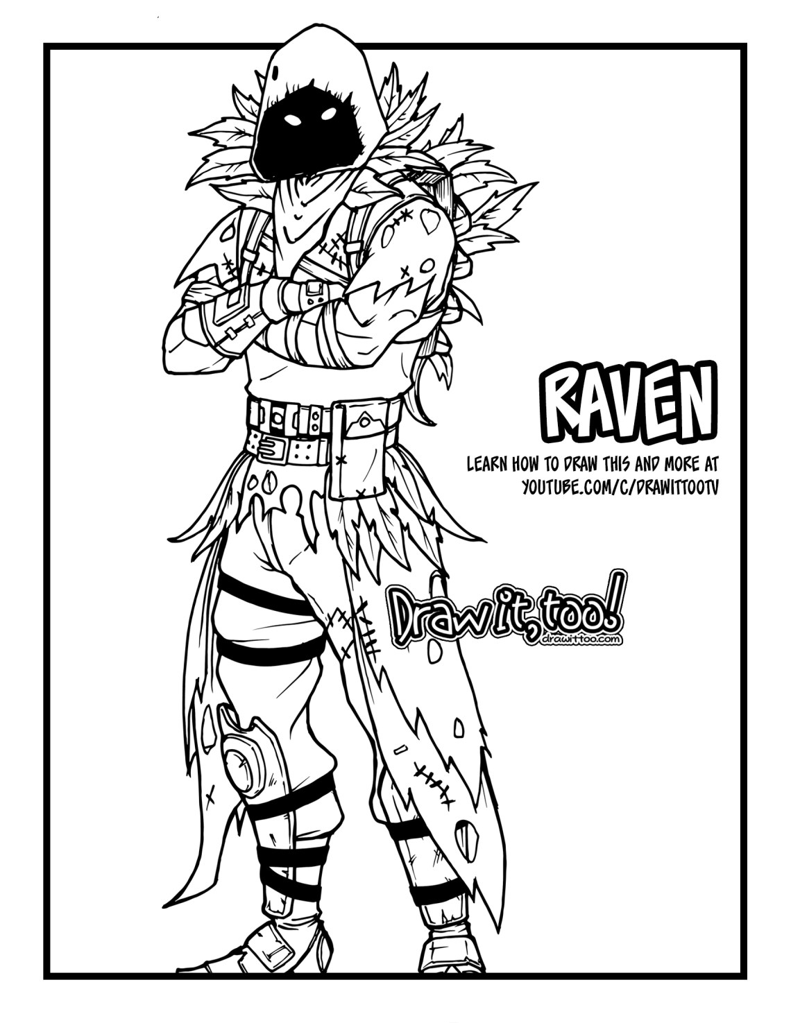 How To Draw Raven Fortnite Battle Royale Drawing Tutorial Draw