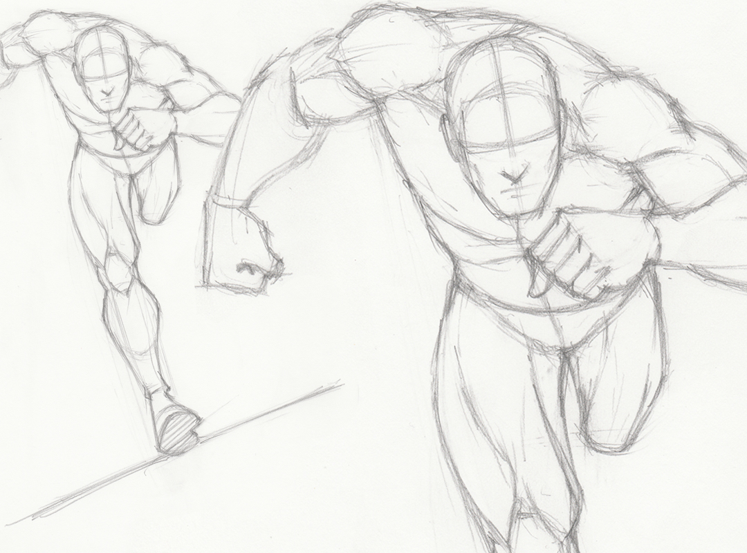 How to draw a male running pose version 1