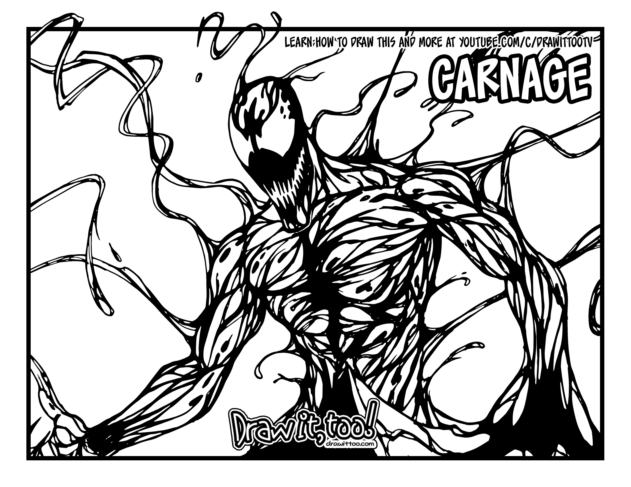 How to Draw CARNAGE (Classic Comic Version) Drawing