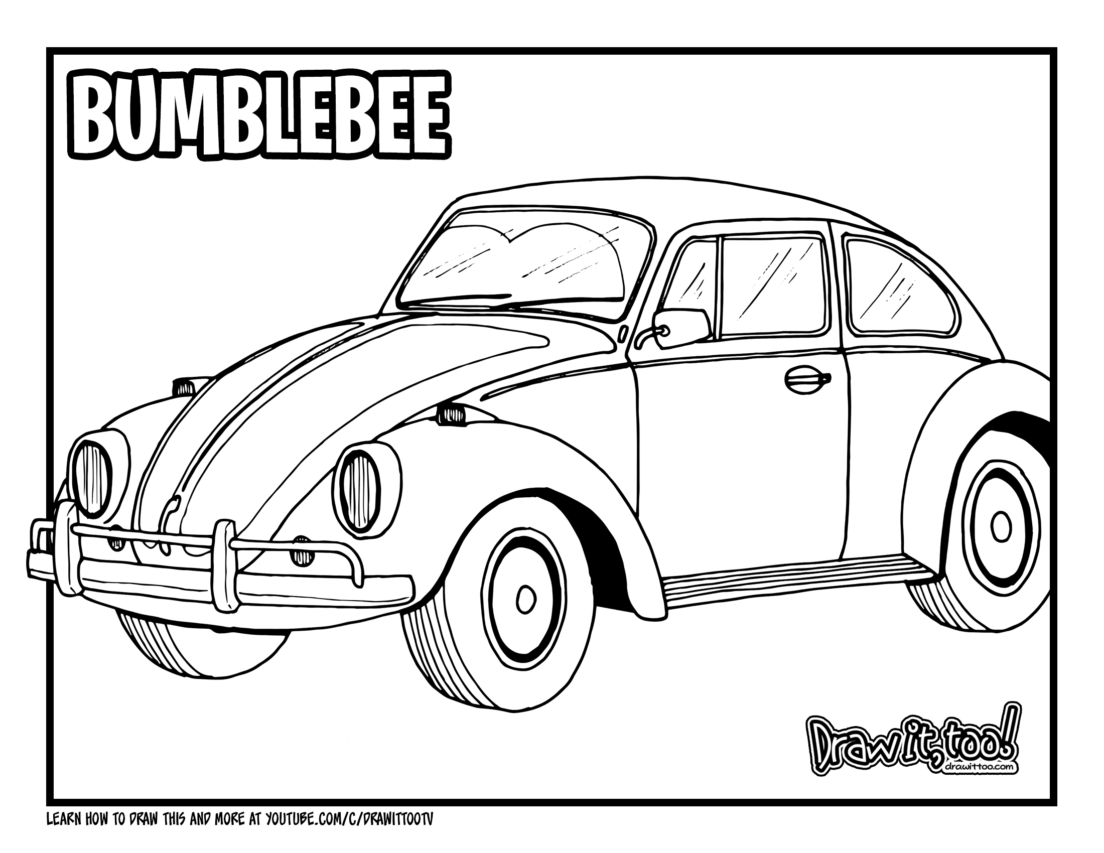 How to Draw BUMBLEBEE VEHICLE MODE (VW BEETLE) Drawing
