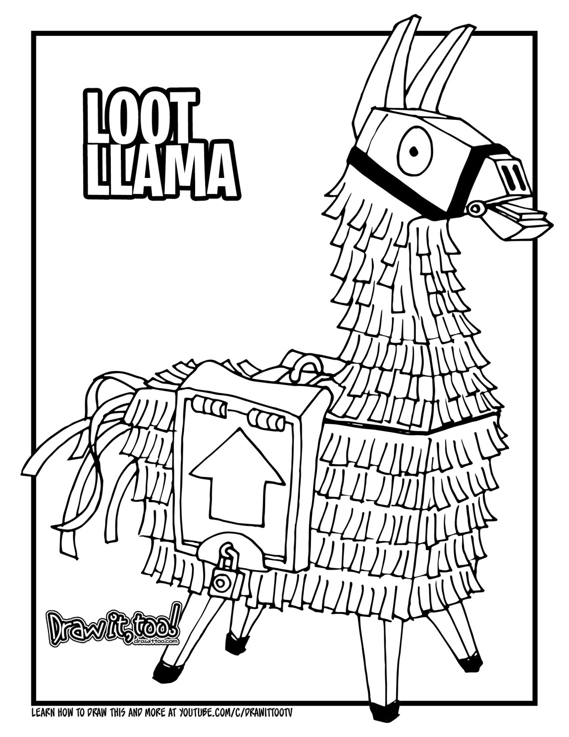 download the loot llama coloring page here - fortnite llama pickaxe drawing
