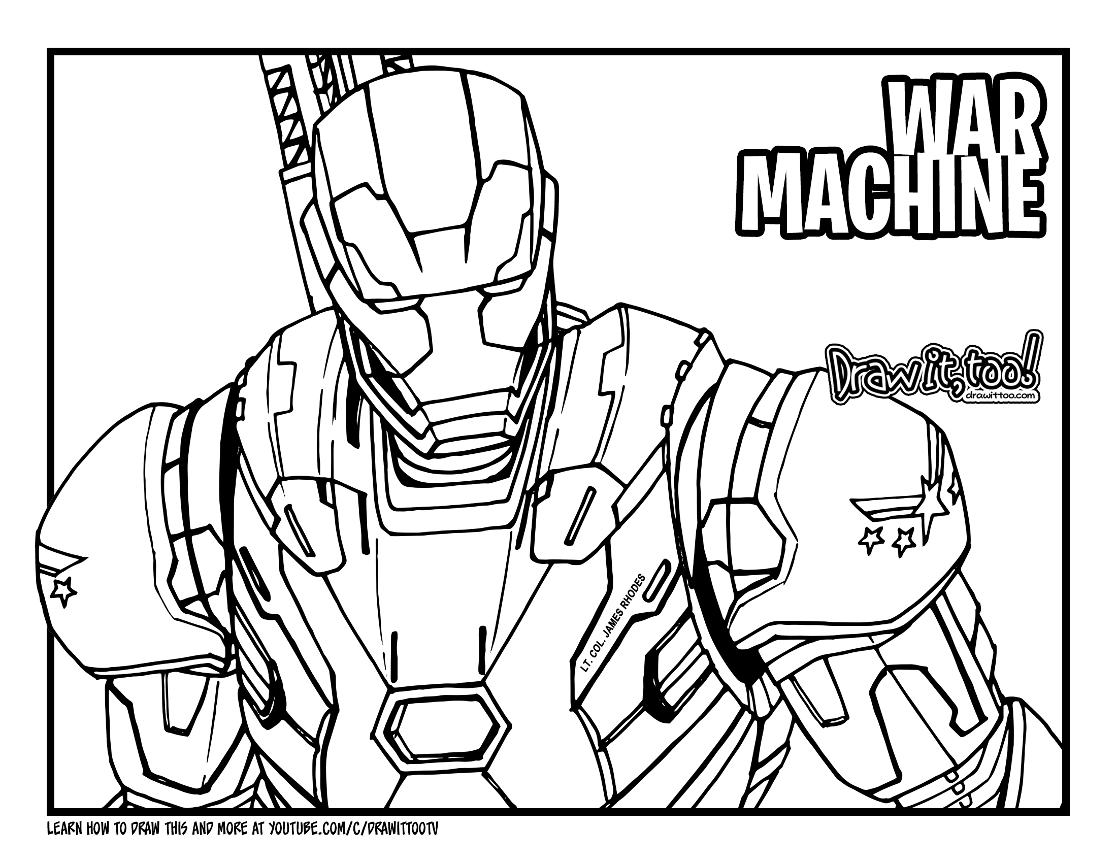 How to Draw WAR MACHINE (Avengers: Endgame) Drawing