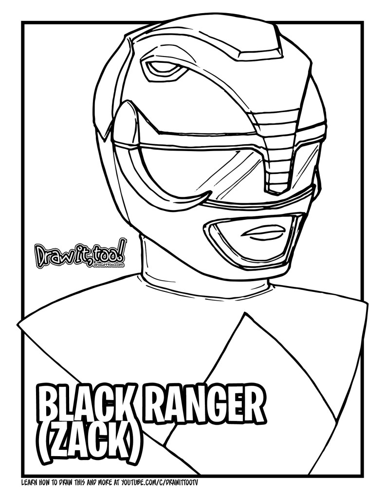 How to Draw BLACK RANGER / ZACK (Mighty Morphin Power ...