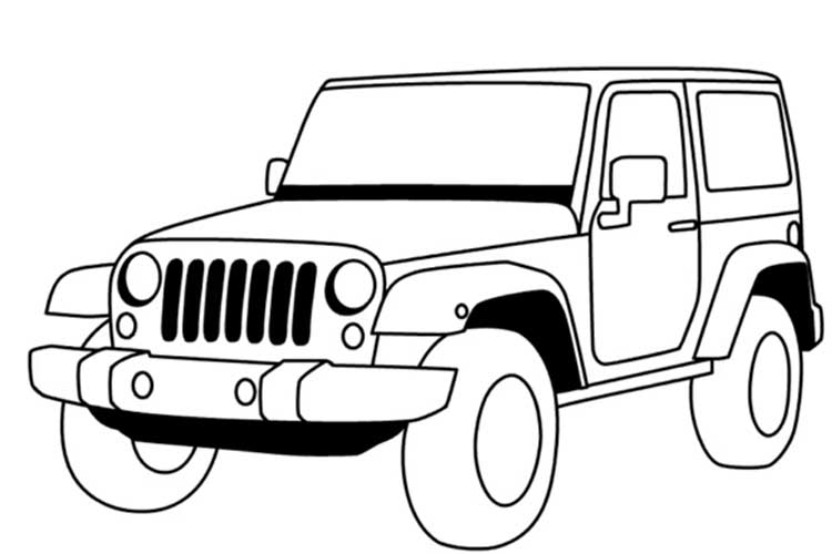 How to draw a jeep: step by step, simple, wrangler easy