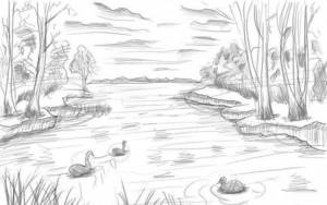 lake draw drawing easy drawings pencil step landscape drawnbyhislight sketch scene lessons waterfall sketches nature shading 1kitapyorumla drawn surrounded trees