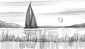 lake draw sea pencils easy scene sun sunset option