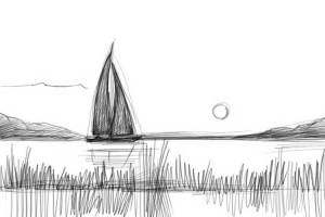 lake draw water easy scene reflected sailboat important must