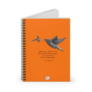 'Hummingbird' Spiral Notebook – Ruled (orange)