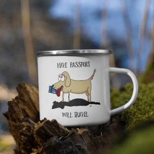 'Have Passport Will Travel' – enamel mug