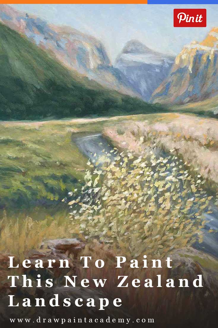 Learn to paint this beautiful New Zealand lanscape scene in oil. In this free painting tutorial I will walk you through the start to finish of the painting.