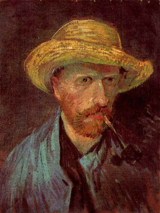 24. Vincent van Gogh, Self-Portrait With Straw Hat And Pipe, 1887