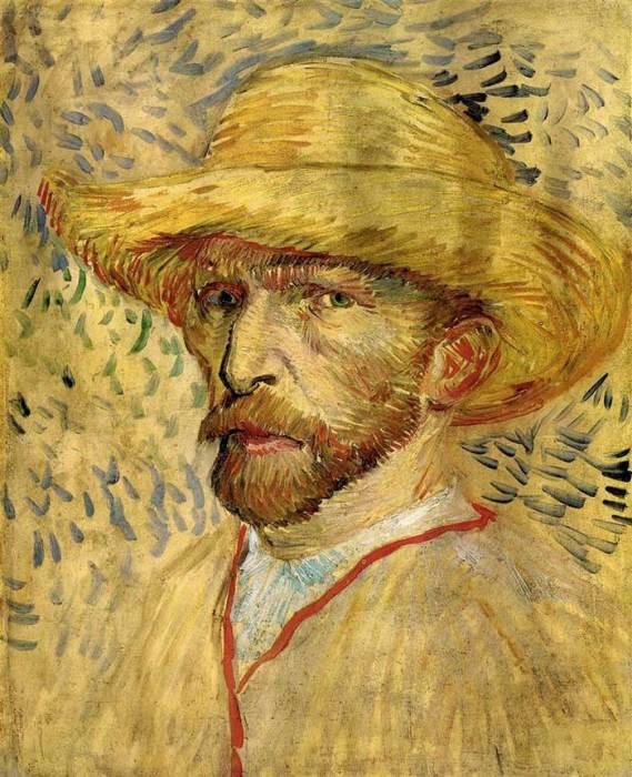 25. Vincent van Gogh, Self-Portrait With Straw Hat, 1887