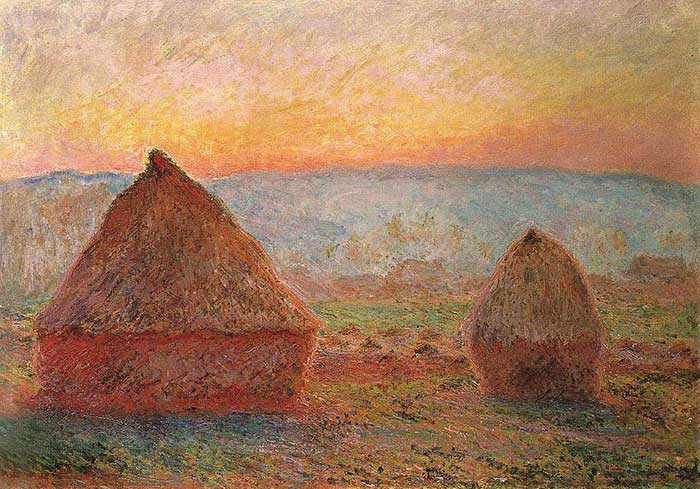 Claude Monet, Grainstacks At Giverny, Sunset, 1889