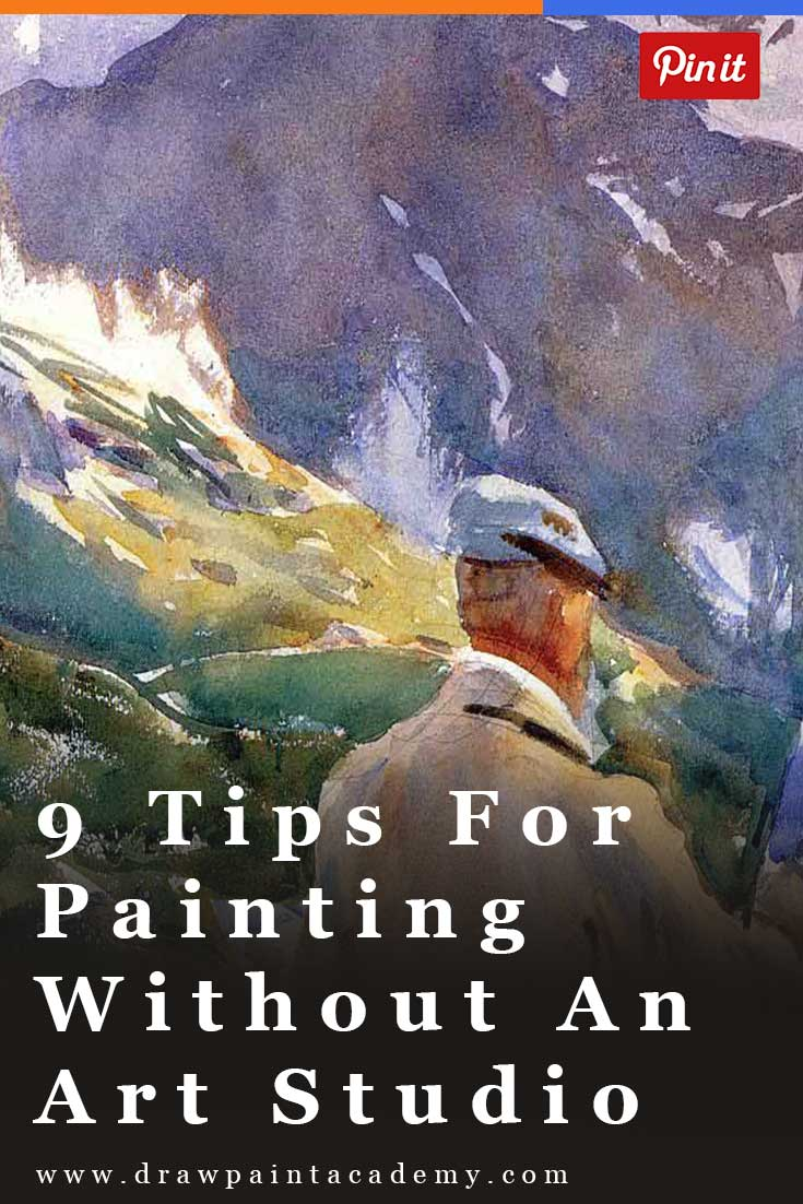 9 Tips For Painting Without An Art Studio.   One of the issues with painting is that it requires space. With your easel, paints, canvas, storage boxes and whatever else you use to paint, it can be a struggle to paint if you do not have a dedicated art studio. So here are some tips for painting without an art studio.