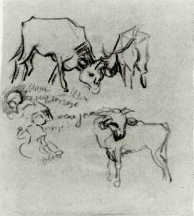 Vincent van Gogh, Sketch Of Cows And Children, 1890