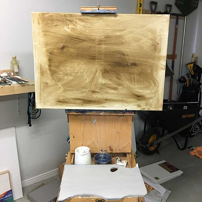 1. Stain The Canvas. Painting Tutorial - Secrets On The Lake