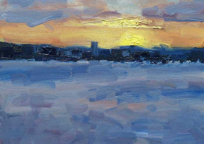 Brisbane Sunset, Oil, 12x16 Inches, 2017