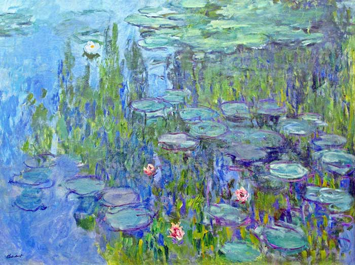 Impressionist Painting Greens And Water