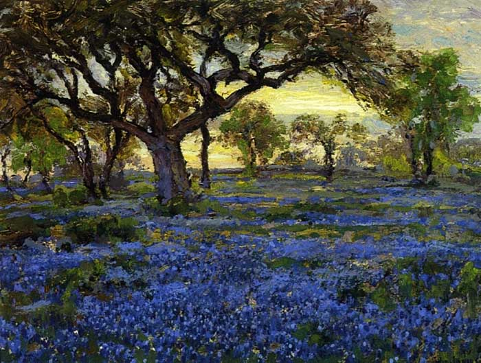 Robert Julian Onderonk, Old Live Oak Tree And Bluebonnets, 1919-1920