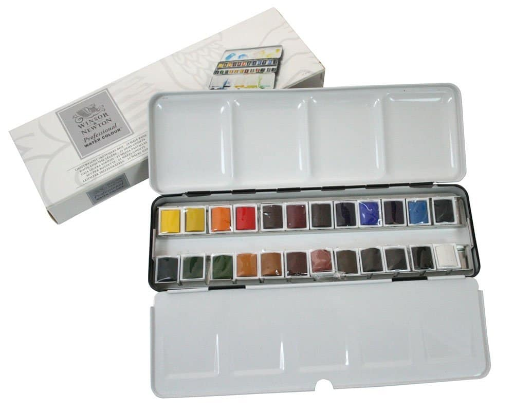 Winsor & Newton Water Color Half Pan 24 Color Metal Box Set - Watercolor Art Supplies For Beginners