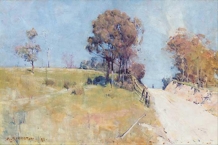 Arthur Streeton, Sunlight (Cutting On A Hot Road), 1895