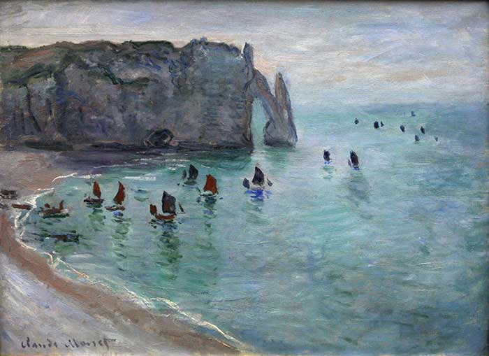 Claude Monet, Etretat The Aval Door Fishing Boats Leaving The Harbour, 1885