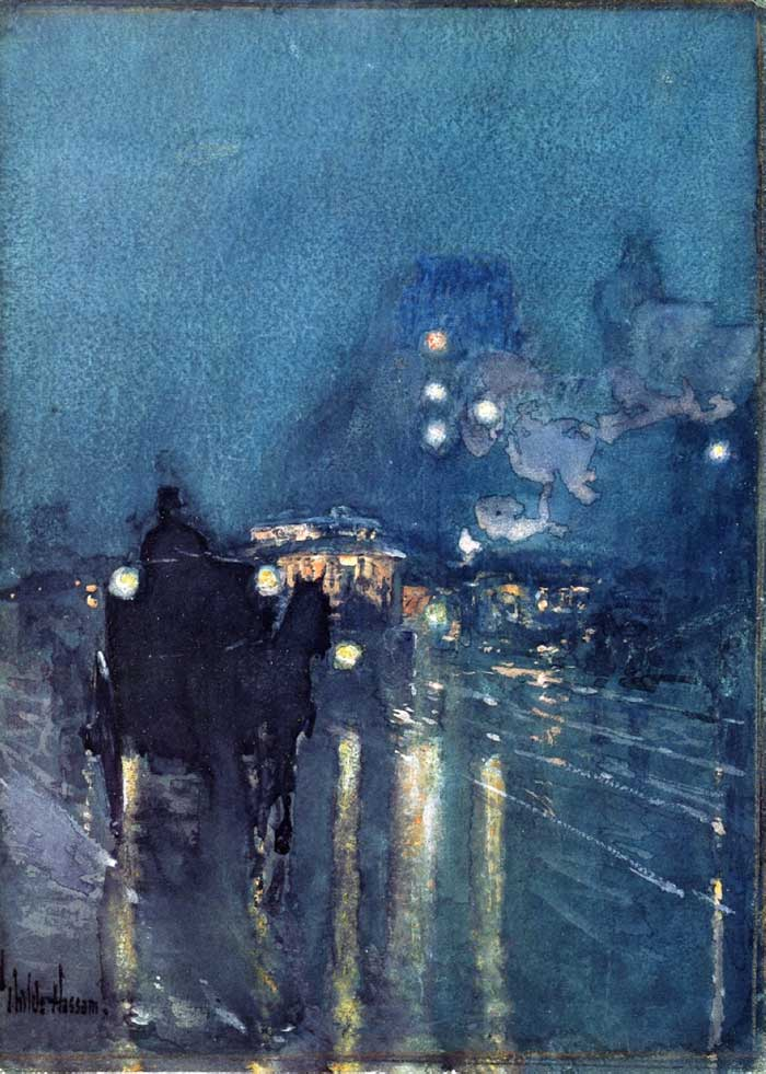Low Key Painting | Low Key Color | Childe Hassam, Nocturne, Railway Crossing, Chicago, 1892-1893