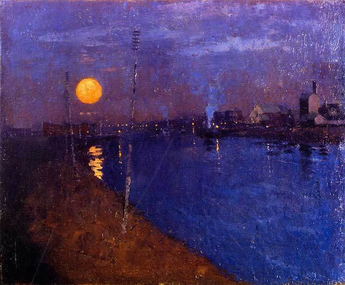 George Henry, River Landscape By Moonlight, 1887
