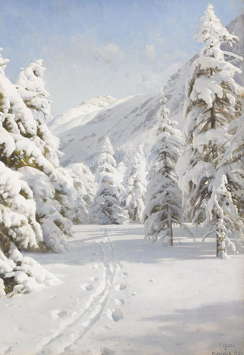 Peter Mork Monsted, Winter Landscape | Landscape Painting
