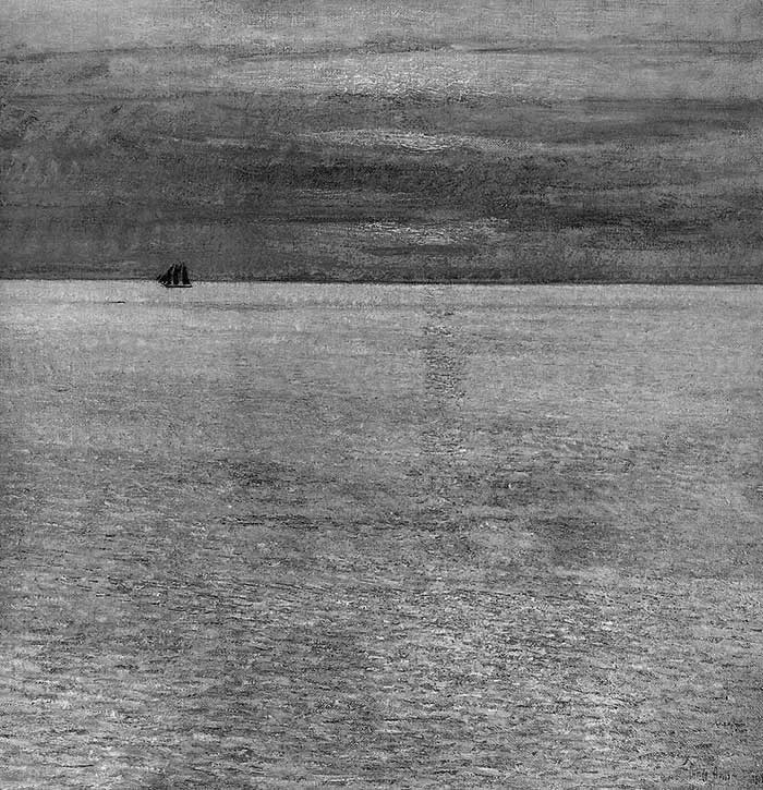 Childe Hassam, Sunset At Sea, 1911 Grayscale