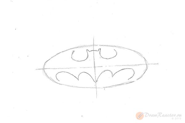 Как нарисовать знак Бэтмена. Шаг 3.