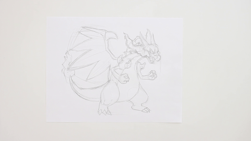 How to Draw Mega Charizard X - Step 3 - Refined Pencil Drawing 1st Pass