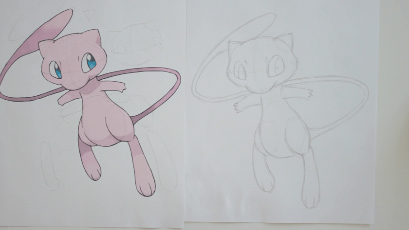 How to Draw Mew - Step 2 - Refined Pencil Drawing