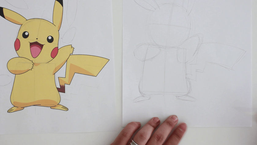 How to Draw Pikachu - Step 1 - Basic Shape and Form