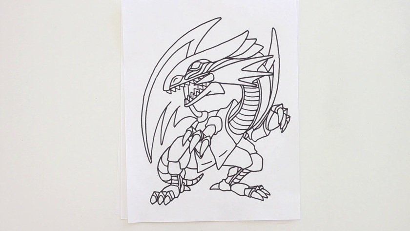 How to Draw Blue Eyes White Dragon - Step 3 - Trace Pencil Lines with Marker