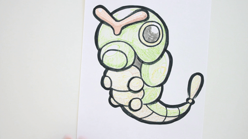 How to Draw Caterpie - Step 6 - Thicken Profile Lines