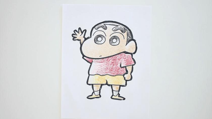 How to Draw Shinnosuke Nohara - Step 6 - Thicken Profile LInes