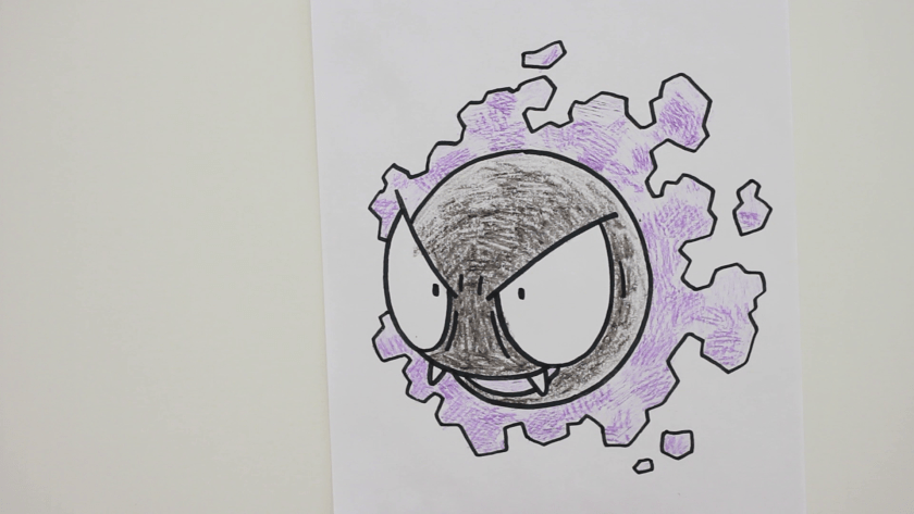 How to Draw Gastly - Step 5 - Color in Shadow