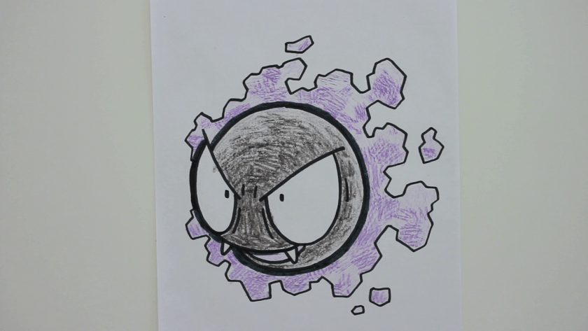 How to Draw Gastly - Step 6 - Thicken Profile Lines